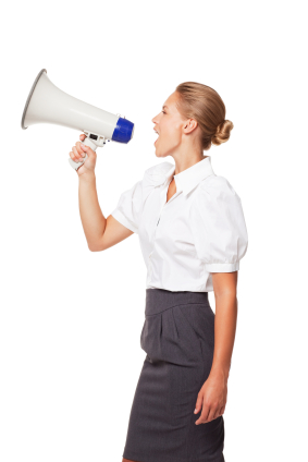Businesswoman Yelling Through a Megaphone. Isolated